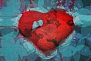 Abstract Hearts Digital Art - Tough Love by Linda Sannuti