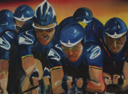 Lance  Armstrong Paintings - Tour de France Team Time Trial by Gregory Allen Page
