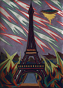 Paris Pastels Prints - Tour Eiffel et OVNI Print by Robert  SORENSEN