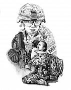 Charcoal Drawings Posters - Tour of Duty - Women in Combat LE Poster by Peter Piatt