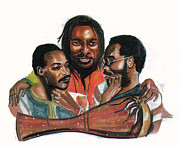 Group Portraits Drawings Framed Prints - Toure Kunda Framed Print by Emmanuel Baliyanga