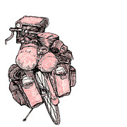 Bike Drawings - Touring Bicycle by Karl Addison