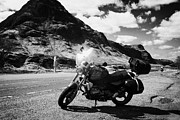 Glen Coe Prints - Touring Bmw Motorcycle Parked On The A82 Road In Front Of Passing Bike Buachaille Etive Beag In Glen Print by Joe Fox