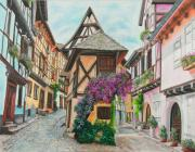 Village In Europe Posters - Touring in Eguisheim Poster by Charlotte Blanchard