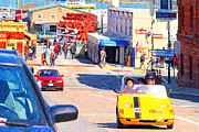 Electric Signs Prints - Touring San Fracisco Fishermans Wharf In An Electric Gocar . 7D14100 Print by Wingsdomain Art and Photography