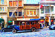 Broadway Digital Art Metal Prints - Touring The Streets of San Francisco Metal Print by Wingsdomain Art and Photography