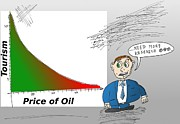 News Mixed Media - Tourism vs. Price of Oil graph caricature by OptionsClick BlogArt