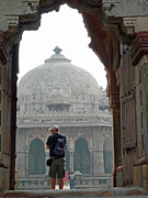 Indian Framed Prints - Tourist framed in archway while photographing the Humayun Tomb Framed Print by Ashish Agarwal