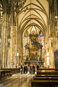 Mixed Medium Prints - Tourists At Altar Of Stephansdom Print by Greg Elms