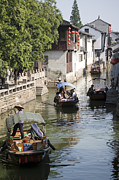 Jiangsu Province Framed Prints - Tourists Cruising Towns Ancient Waterways, Zhouzhuang, Jiangsu, China, North-east Asia Framed Print by Greg Elms