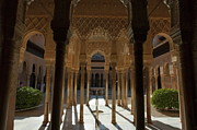 Alhambra De Granada Prints - Tourists in the courtyard in the Patio de los Leones area at Alhambra Print by Sami Sarkis