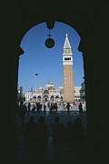 Piazza San Marco Posters - Tourists Sit Looking At St Marks Square Poster by Taylor S. Kennedy