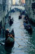 Confined Framed Prints - Tourists travelling on gondolas through a narrow canal in Venice Framed Print by Sami Sarkis