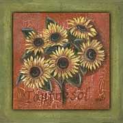 Yellow Brown Posters - Tournesol Poster by Debbie DeWitt