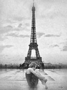 Eiffel Tower Paintings - Tourterelle by Mo T