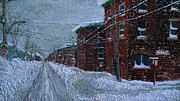 Snowfall Paintings - Tourville en Hiver by Jonathan E Raddatz