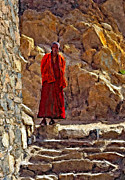 Tibetan Buddhism Metal Prints - Towards Nirvana impasto Metal Print by Steve Harrington