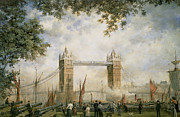 City Of Bridges Painting Posters - Tower Bridge - From the Tower of London Poster by Richard Willis