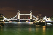 Warship Prints - Tower Bridge and HMS Belfast at night Print by Jasna Buncic