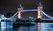 Barges Prints - Tower Bridge and London Barges Print by Dawn OConnor