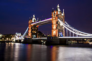 Tower Of London Prints - Tower Bridge at Night Print by Dawn OConnor