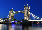 Old Tower Prints - Tower Bridge at night Print by Jasna Buncic