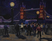 Nightime Pastels Posters - Tower Bridge at Night Poster by Marion Derrett