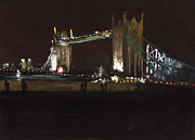 London England  Pastels - Tower Bridge At Night  by Paul Mitchell