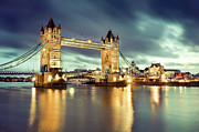 Standing Water Prints - Tower Bridge At Night Print by Towfiqu Photography