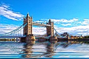 Flood Digital Art Prints - Tower Bridge Bright Print by Sharon Lisa Clarke