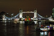 London Pyrography Prints - Tower Bridge by Night Print by Sean Foreman