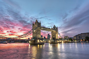Illuminated Prints - Tower Bridge Print by Conor MacNeill