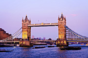 Flags Prints - Tower bridge in London at dusk Print by Elena Elisseeva