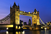 Arches Photos - Tower bridge in London at night by Elena Elisseeva