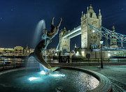 Fountain Photo Prints - Tower Bridge In London Print by Vulture Labs