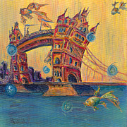 Tropical Fish Paintings - Tower Bridge by Robin Wiesneth