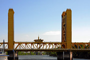 Yellow Ochre Prints - Tower Bridge Sacramento - A Golden State icon Print by Christine Till