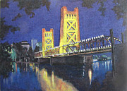 Sacramento Tower Bridge Painting Prints - Tower Bridge Sacramento Print by Jack Warren