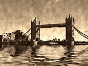 Flood Digital Art Prints - Tower Bridge Print by Sharon Lisa Clarke