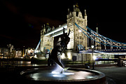 Dolphin Posters - Tower Bridge With Girl and Dolphin Statue Poster by David Pyatt