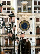 Large Clocks Posters - Tower Clock in Saint Marks Square Poster by Susan Holsan