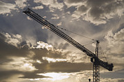 Tower Crane Posters - Tower Crane at Sunset Poster by Thom Gourley/Flatbread Images, LLC