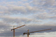 Tower Crane Posters - Tower Cranes and Clouds Poster by Jeremy Woodhouse