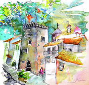 Tower Drawings Framed Prints - Tower in Ponte de Lima in Portugal Framed Print by Miki De Goodaboom