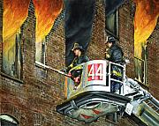 Paul Walsh Posters - Tower Ladder 44-south Bronx Poster by Paul Walsh