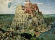 Panel Metal Prints - Tower of Babel Metal Print by Pieter the Elder Bruegel
