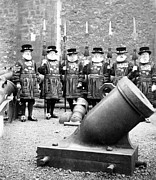 Tower Of London Framed Prints - Tower of London Guards - c 1900 Framed Print by International  Images