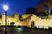 Lamppost Framed Prints - Tower of London walls at night Framed Print by Elena Elisseeva