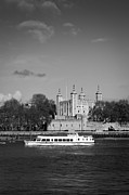 Tower Of London Prints - Tower of London with tourist boat Print by Gary Eason