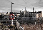 Monochrome Posters - Tower of London with Tube sign Poster by Jasna Buncic